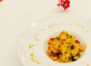 Italian Tagliolini with mint and shrimps